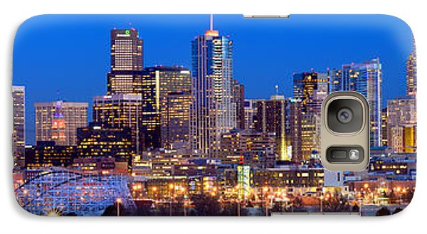 Galaxy Case featuring the photograph Denver Skyline At Dusk Evening Color Evening Extra Wide Panorama Broncos by Jon Holiday