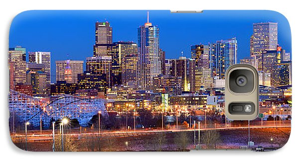 Galaxy Case featuring the photograph Denver Skyline At Dusk Evening Color Evening Panorama Broncos Colorado  by Jon Holiday