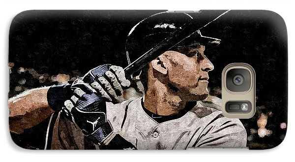 Derek Jeter On Canvas Galaxy Case by Florian Rodarte