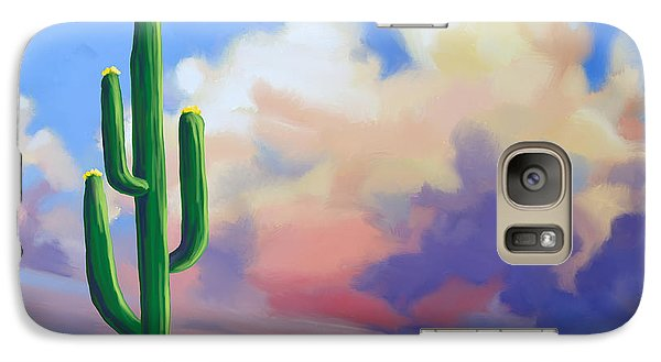 Galaxy Case featuring the painting Desert Cactus At Sunset by Tim Gilliland