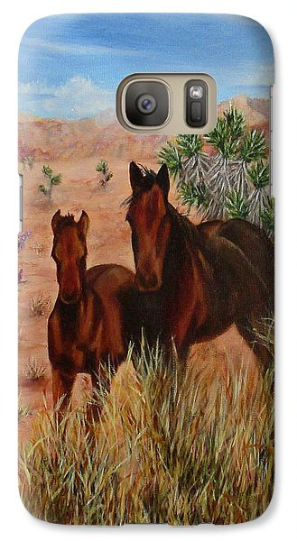 Galaxy Case featuring the painting Desert Horses by Roseann Gilmore
