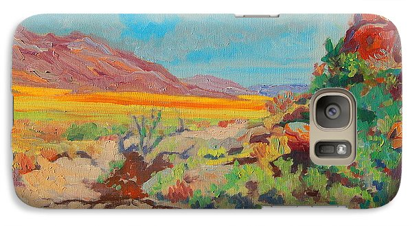 Galaxy Case featuring the painting Desert Spring Flowers Namaqualand With Rock Outcrop by Thomas Bertram POOLE