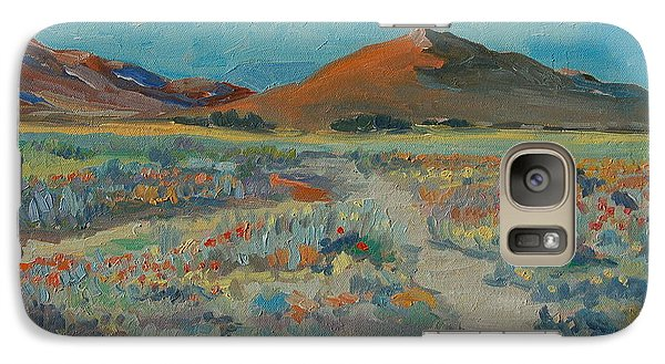 Galaxy Case featuring the painting Desert Spring Flowers With Orange Hill by Thomas Bertram POOLE