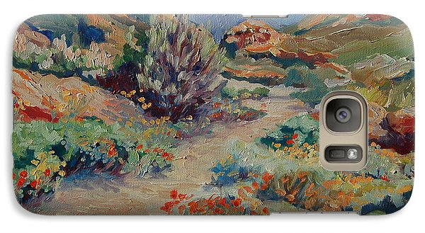 Galaxy Case featuring the painting Desert Spring Flowers With Path by Thomas Bertram POOLE