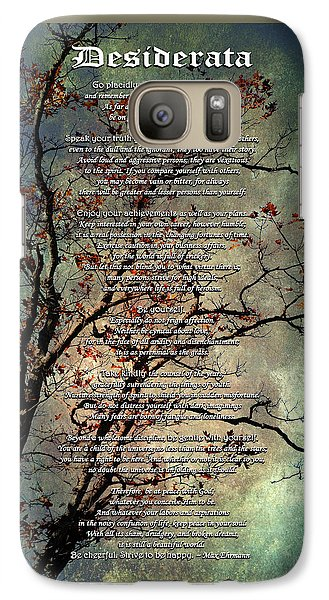 Desiderata Inspiration Over Old Textured Tree Galaxy S7 Case by Christina Rollo