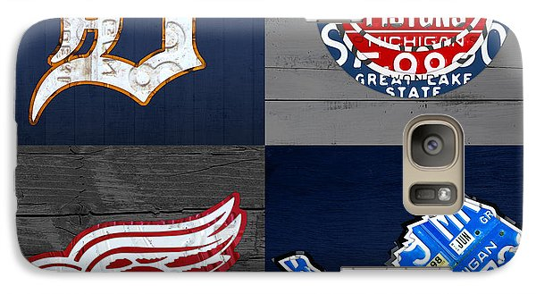 Detroit Sports Fan Recycled Vintage Michigan License Plate Art Tigers Pistons Red Wings Lions Galaxy S7 Case