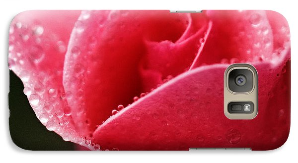 Galaxy Case featuring the photograph Dew Drops On Pink by Rebecca Davis