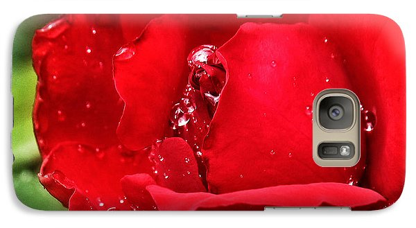 Galaxy Case featuring the pyrography Dew Drops On Red by Rebecca Davis