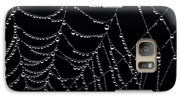 Galaxy Case featuring the photograph Dew Drops On Web 2 by Marty Saccone