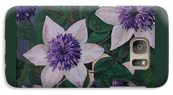 Galaxy Case featuring the painting Clematis After The Rain by Sharon Duguay