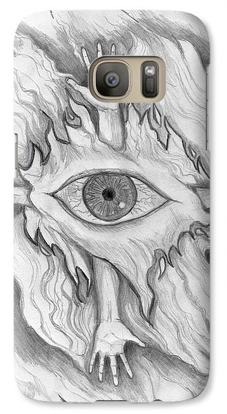 Galaxy Case featuring the drawing Dimension 4 by Roz Abellera Art