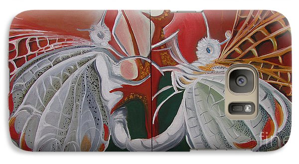 Galaxy Case featuring the painting Diptych-double Canvas by Art Ina Pavelescu
