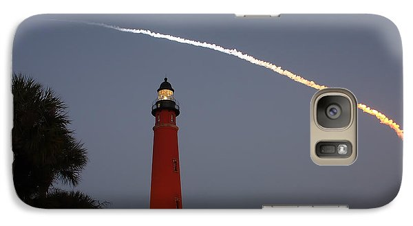 Galaxy Case featuring the photograph Discovery Booster Separation Over Ponce Inlet Lighthouse by Paul Rebmann