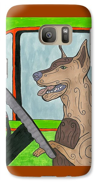 Galaxy Case featuring the painting Doberman Driving by Susie Weber