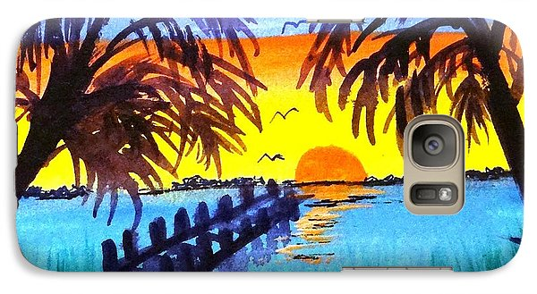 Galaxy Case featuring the painting Dock At Sunset by Ecinja Art Works