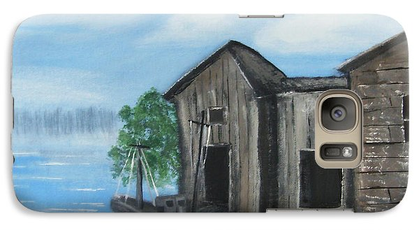 Galaxy Case featuring the painting Docked At Bayou by Mindy Bench