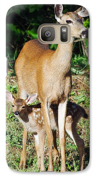 Galaxy Case featuring the photograph Doe And Fawn by Adria Trail