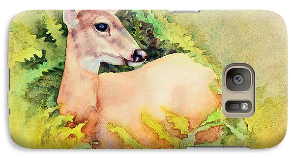 Galaxy Case featuring the painting Doe In Ferns by Bonnie Rinier