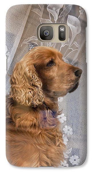 Galaxy Case featuring the photograph Dog In Window by Dennis Cox WorldViews