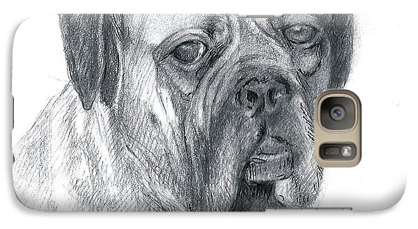 Galaxy Case featuring the drawing Boxer Dog by Rose Wang