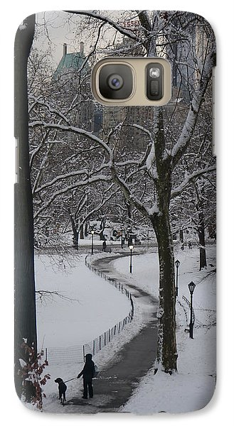 Galaxy Case featuring the photograph Dog Walking In A Snowy Central Park by Winifred Butler