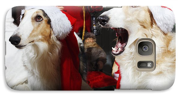 Galaxy Case featuring the photograph dogs Borzoi puppies and Christmas greetings by Christian Lagereek