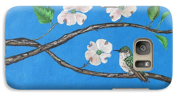 Galaxy Case featuring the painting Dogwood And Hummingbird by Ella Kaye Dickey