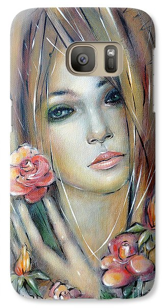 Galaxy Case featuring the painting Doll With Roses 010111 by Selena Boron