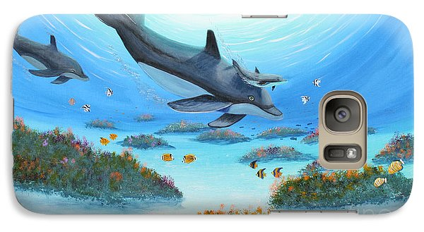 Galaxy Case featuring the painting Dolphen Moves by Myrna Walsh