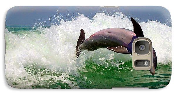 Galaxy Case featuring the digital art Dolphin Flip by Kara  Stewart
