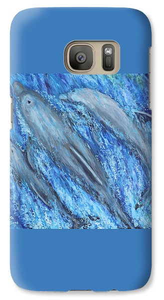 Galaxy Case featuring the painting Dolphins At Play by Penny Birch-Williams