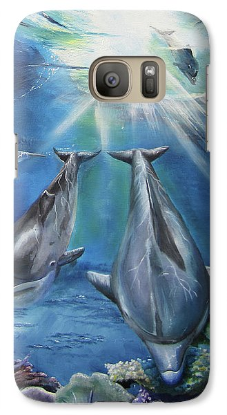 Galaxy Case featuring the painting Dolphins Playing by Thomas J Herring