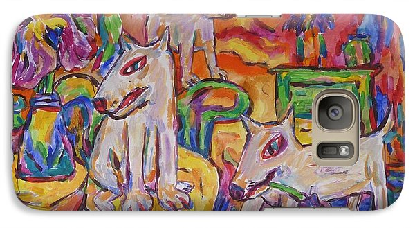 Galaxy Case featuring the painting Domesticated Wolves In Dutch Iris Room by Dianne  Connolly