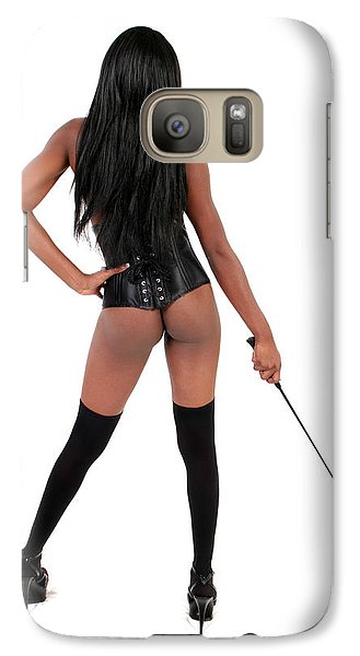 Galaxy Case featuring the photograph Dominatrix With Riding Crop by Lon Casler Bixby