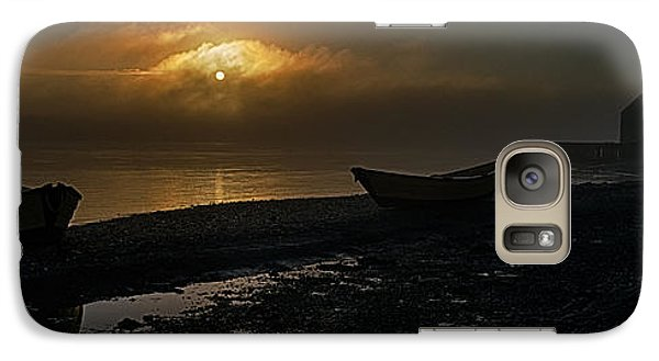 Galaxy Case featuring the photograph Dories Beached In Lifting Fog by Marty Saccone