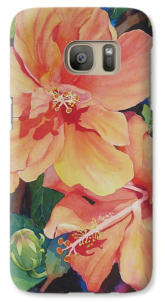 Galaxy Case featuring the painting Double Hibiscus by Judy Mercer