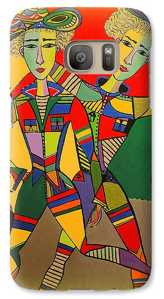 Galaxy Case featuring the painting Let's Go Brother by Marie Schwarzer