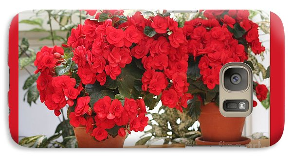 Galaxy Case featuring the photograph Double Red Begonias by Mary Lou Chmura