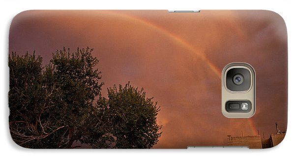 Galaxy Case featuring the photograph Double Red Rainbow With Tree In Jerome by Ron Chilston