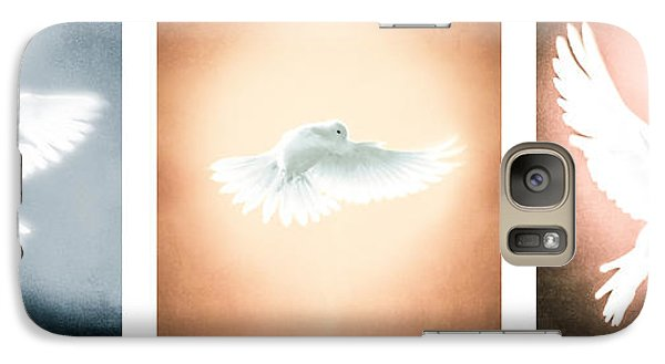 Dove In Flight Triptych Galaxy Case by YoPedro
