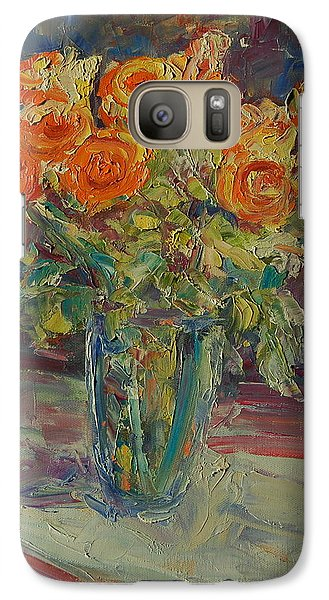 Galaxy Case featuring the painting Dozen Orange Roses by Thomas Bertram POOLE