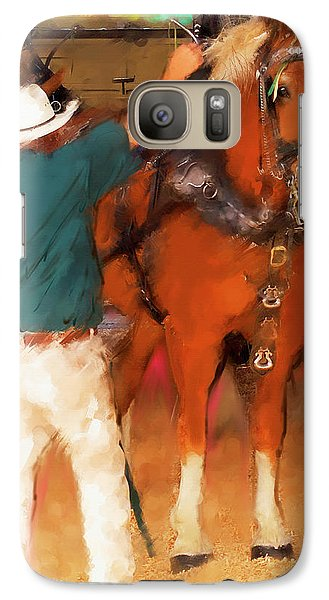 Galaxy Case featuring the painting Draft Horse And Trainer by Ted Azriel