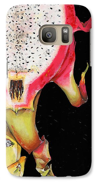 Galaxy Case featuring the painting dragon fruit red and yellow -Elena Yakubovich by Elena Yakubovich