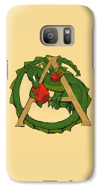 Galaxy Case featuring the drawing Dragon Letter A by Donna Huntriss