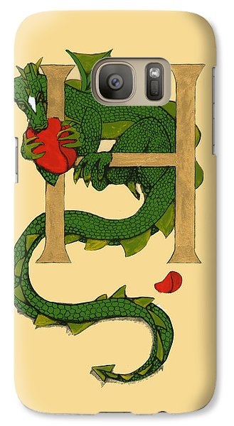 Galaxy Case featuring the drawing Dragon Letter H by Donna Huntriss