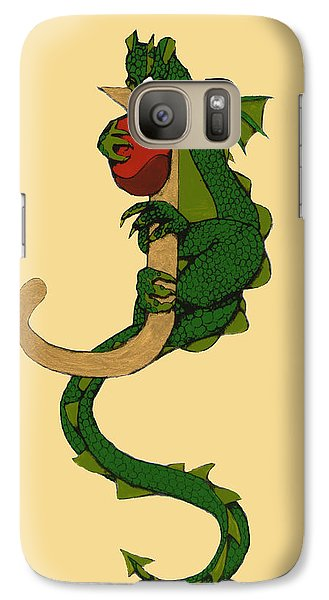 Galaxy Case featuring the mixed media Dragon Letter J by Donna Huntriss