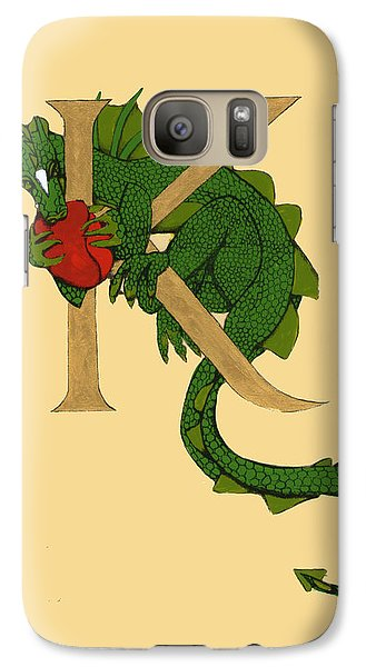 Galaxy Case featuring the drawing Dragon Letter K by Donna Huntriss