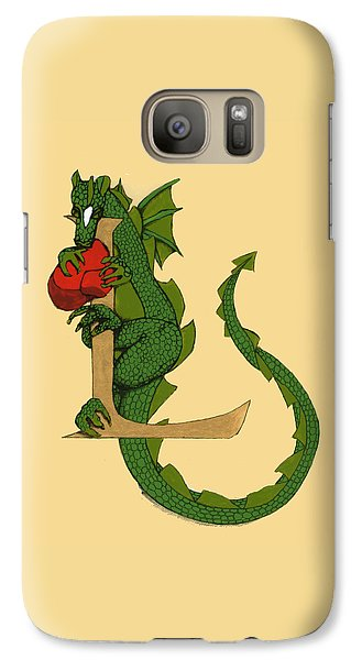 Galaxy Case featuring the drawing Dragon Letter L by Donna Huntriss