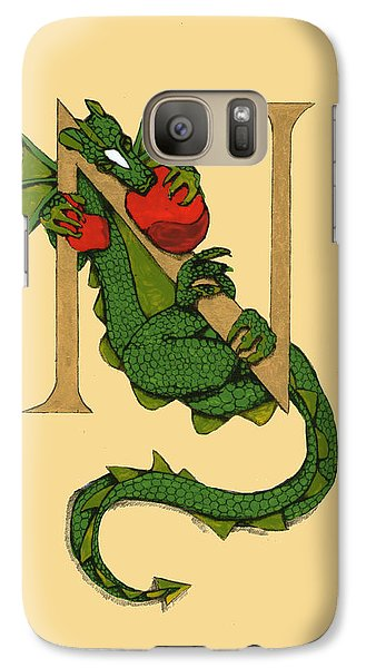 Galaxy Case featuring the drawing Dragon Letter N by Donna Huntriss