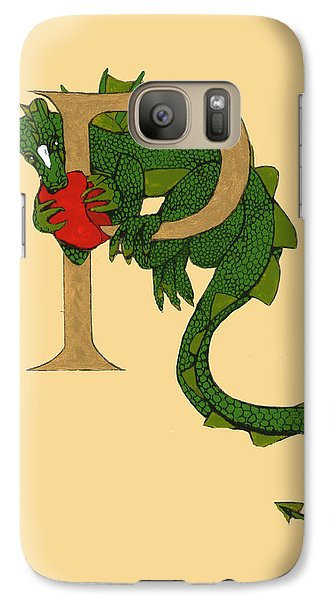 Galaxy Case featuring the mixed media Dragon Letter P by Donna Huntriss
